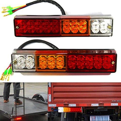WDragon Lot de 2 feux arrière de remorque 20 LED pour remorque, camion, caravane, camion, camionnette, tracteur 3 W DC12 V