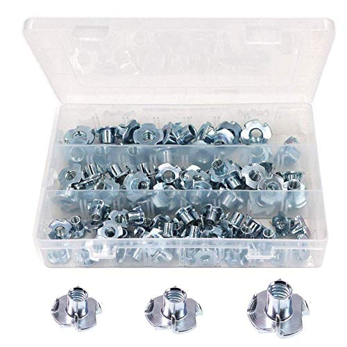 T-Nuts,4 Pronged Zinc Plated Tee T-Nut,Pronged Tee Nut, T Nut 4 Prong Tee Blind Nuts for Wood, Rock Climbing Holds, Cabinetry (1/4