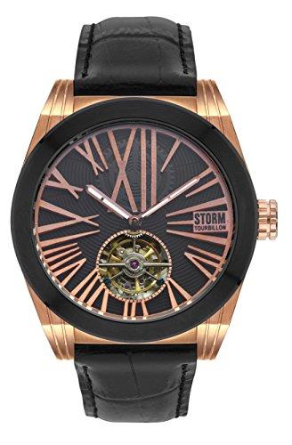 STORM Herren Datum klassisch Automatik Uhr mit Leder Armband 47244/RG