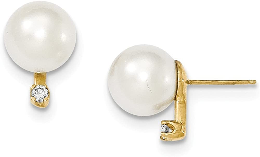 Solid 14k Gold 9-10mm Round White South Sea Cultured Pearl Diamond Post Earrings