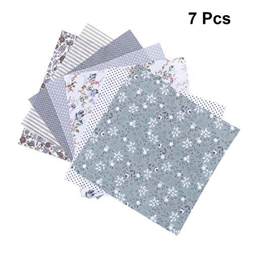 Heallily 7 piezas de algodón impreso mosaico precortado tela acolchado cuadrados costura cuarto paquete para diy artesanía adorno scrapbooking 25x25cm (gris)