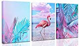 3 Panel Pink Flamingo Canvas - wall art for living room bedroom, monsstera shallow greenleaf tropical picture,modern-wall-art - nature picture each 12x16inch CERLMLAND
