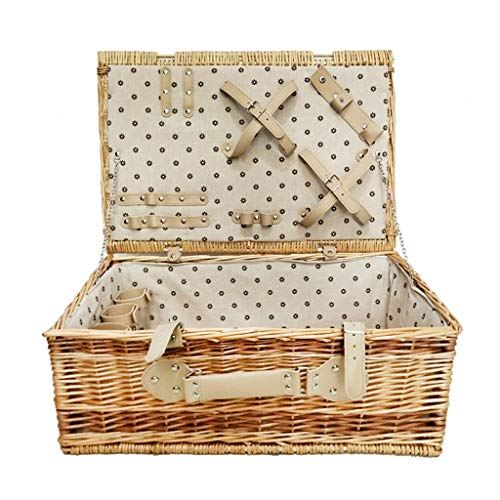 4 Person Picnic Basket Traditional Wicker Picnic Basket Wicker Hamper Outdoor Camping Portable Food Storage Box with Lid, Without Tableware