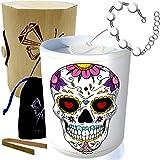 ArtGosse Edition Especial Cráneo México • Vela con joya de plata adornada con cristales de Swarovski® • Perfume de Pina Colada • Caja regalo pulsera sorpresa