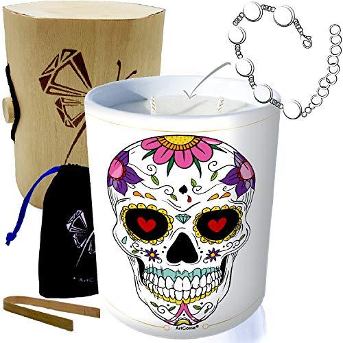 ArtGosse Edition Especial Cráneo México • Vela con joya de plata adornada...
