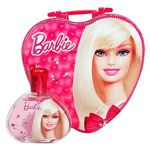 Aire Val Barbie Set de Caso de Metal en forma de corazón y Eau de Toilette, 100ml