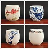 4 pezzi/set Tazza da tè in ceramica Jingdezhen Tazza da tè Caffè dipinta a mano Bicchieri da vino Set da tè blu e bianco Forniture per bicchieri 220ml-chabei, vestito a quattro pezzi 2