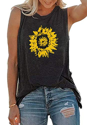 JINTING Summer Sunflower Graphic Tank Tops for Women Graphic Tank Tops Sleeveless Graphic Tee Shirts Letter Print Tank Top (L, Grey)