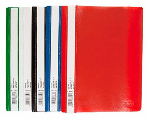 Idena 307863 - Schnellhefter für DIN A5, aus Kunststoff, 2 x blau/weiß/gelb/grün/rot, 10 Stück