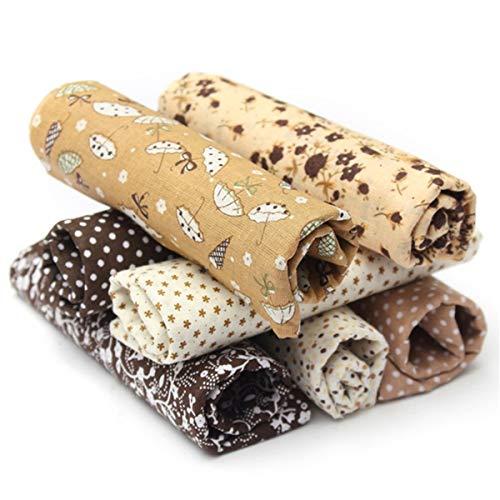 king do way Tessuti Stampati, Set di Stoffa Patchwork per Fatti a Mano, Materiali Tessuti in Cotone per Hobby Creativi (Marrone)