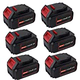 6 Pack 20V 6000mAh High Capacity DCB200 Lithium Replacement Battery for Dewalt 20 Volts Battery DCB201 DCB203 DCB204 DCB205 DCB205-2 DCB206 DCB181 DCB180 DCD/DCF/DCG/DCS Tool