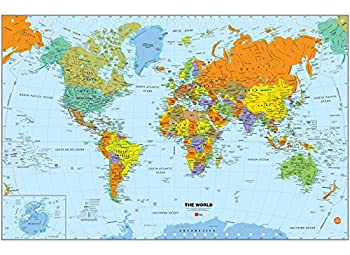 Wall Pops WPE1898 World Dry Erase Map Decal Multi-Color