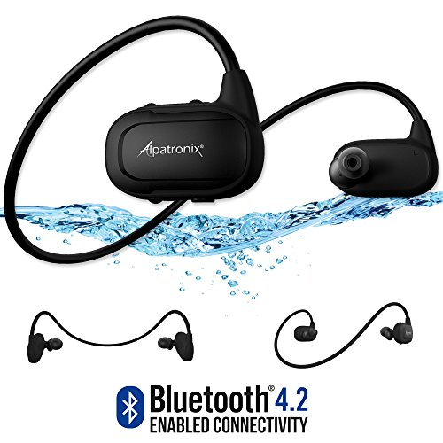 Alpatronix HX250 Waterproof Bluetooth Headset Wireless Sport IPX7 Headphones w/Mic, Built-in Memory (8GB), Sweatproof, Swimming, Running Earbuds Stereo BT 4.2 Earphones for Bluetooth Devices - Black