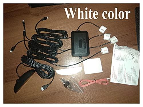 GUANGGUANG Heartwarming Shop Sensores de Aparcamiento de Pantalla LED 4 radares Automóvilescar-Detector Parktronic Alarma Blanco Rojo Azul Plateado (Color Name : White)