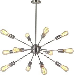 Modern Sputnik Chandelier Lighting 12 Lights Italian Designed Pendant Lighting Mid-Century Ceiling Light Fixture Brushed Nickel by TUDOLIGHT