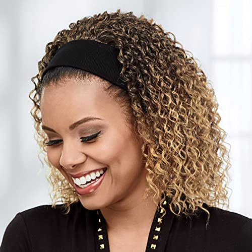 Statement Headband Wig by Especially Yours – Natural Spiral Curl Wig with Bouncy Layers, Great Volume / Runway Shades of Black and Brown