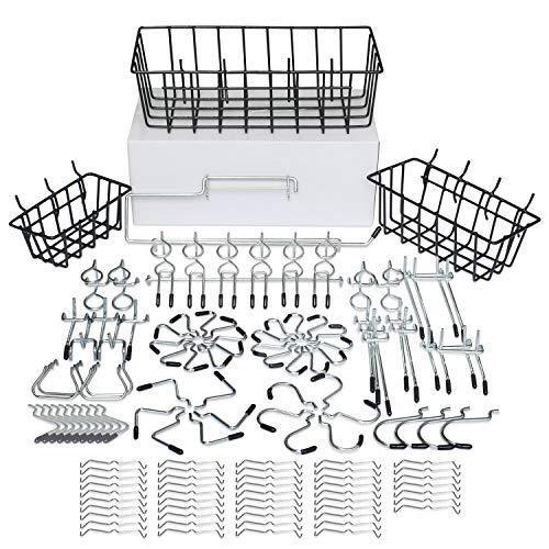 128 pcs Pegboard Hooks Assortment with Metal Hooks Sets, Pegboard Bins, Peg Locks for Organizing Storage System Tools