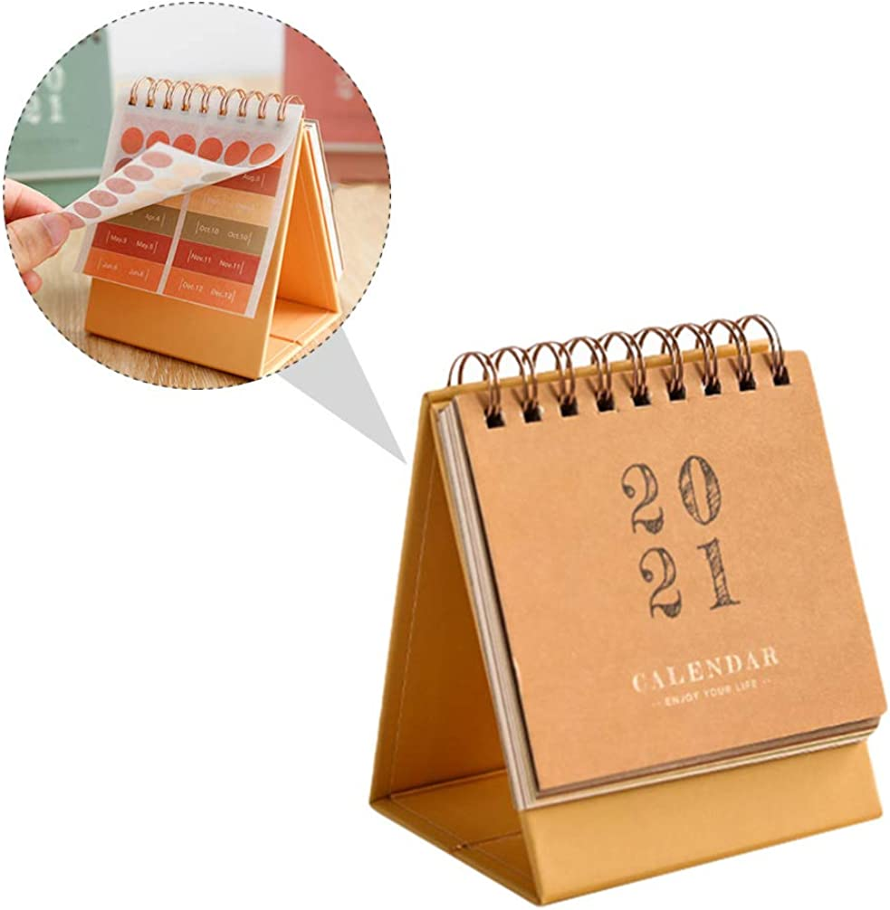 VALICLUD 2020-2021 Calendario de Escritorio de Pie Flip Mensual Almohadilla de Escritorio Calendario Mes Planificador Diario para Oficina Hogar Planificador de Horario Diario Amarillo