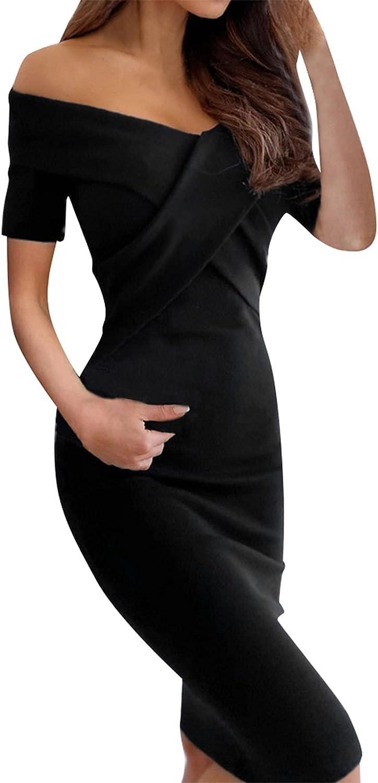 Ladies Bodycon 2021 Shirt Dress V-Neck Cross-Lapel Slim-Fitting Short-Sleeved Solid Color Dress Black