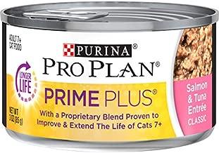 Purina Pro Plan Senior Pate Wet Cat Food, PRIME PLUS Salmon & Tuna Entree - (24) 3 oz. Pull-Top Cans