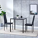 Huisen Furniture Black Small Dining Table and Chairs Set of 2 Compact 3 Piece Modern Kitchen Glass Tempered Square Table and 2 Black Faux Leather Chairs for Small Dinette Apartment Space Saving