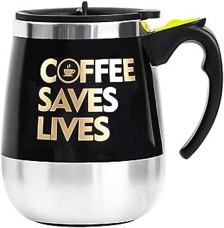 BINE Self Stirring Mug Auto Self Mixing Stainless Steel Cup for Coffee/Tea/Hot Chocolate/Milk Mug for Office/Kitchen/Travel/Home -450ml/14oz (Coffee Saves Lives)