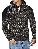 Tazzio 16483 - Jersey de punto grueso para hombre, con capucha negro S