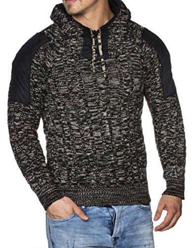 Tazzio Maglia da uomo con cappuccio, lavorazione a maglia grossa, fantasia mélange, modello 16483 nero S