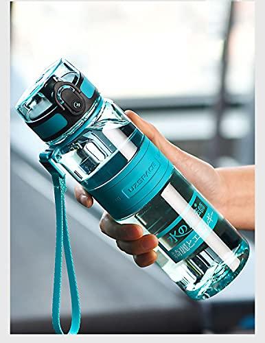 LGQ Botella de Agua portátil Deportiva para Hombres y Mujeres, colador extraíble, Flujo rápido, Tapa abatible a Prueba de Fugas Durable sin BPA Taza de Agua para niños no tóxica,Verde,500cm