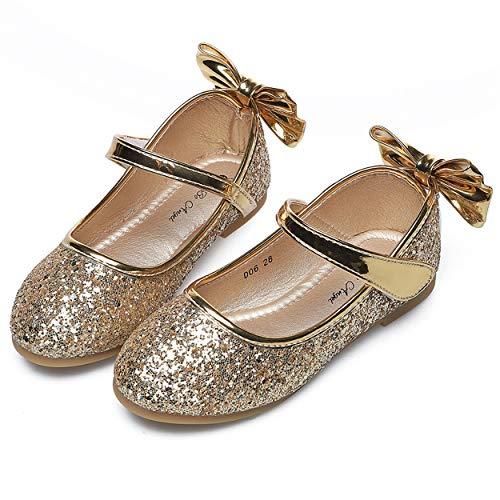 YOSICIL Mädchen Schuhe Prinzessin Schuhe Kinder Flache Ballerina Pailletten Glitzer Schuhe Festliche Schuhe Hochzeitschuhe Fasching Karneval Halloween Tanzball Weihnachtsfeier Party Schuhe
