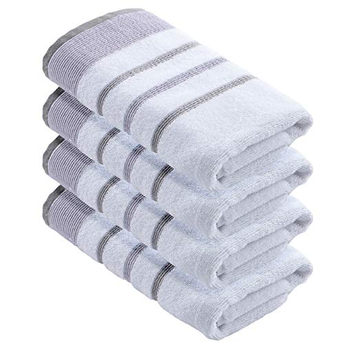 Turkish Cotton Striped 4-Pack Hand Towel Set (16 x 30 inches) Oversized Decorative Luxury Hand Towels. Noelle Collection (Set of 4, Lavender / Grey)