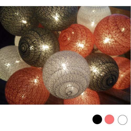 Bomullskula älva ljusslingor, Morbuy batteridriven flerfärgad dekor LED nattlampor 6 cm boll 20 lampa för trädgård inomhus hem semester fest bröllop juldekoration (1,8 m/10 ljus, låg profil)