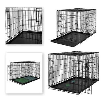 dibea 2 Portes Cage pour Chien Pliable et transportable avec Poignées et Plateau (XXXL)