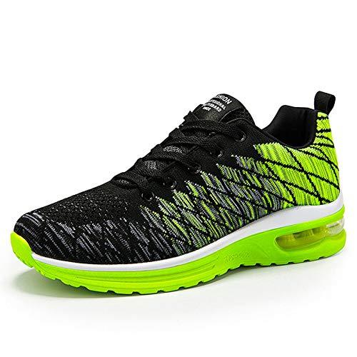 AIRAVATA Zapatillas de correr para hombre y mujer, con cojín de aire, ligeras, transpirables, para caminar, gimnasio, correr, fitness, atléticas, verde (Green-shhg5099), 43 EU