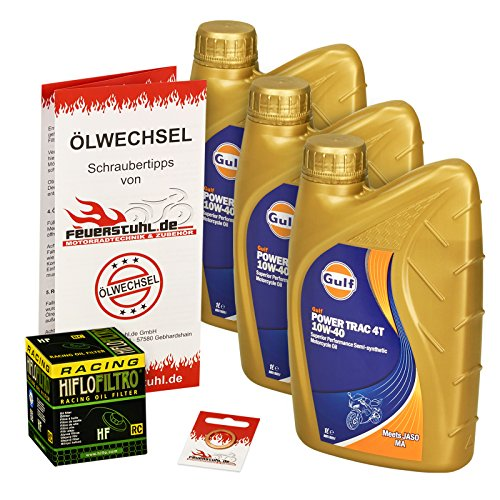 Gulf 10W-40 Öl + HiFlo Ölfilter für Kawasaki ER-5 500 Twister, 97-06, ER500A - Ölwechselset inkl. Motoröl, Racing Filter, Dichtring