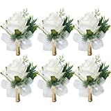 WEIERYUE Women's and Men's Corsage Corsage,Wedding Groomsmen and Bridesmaids Corsage,Artificial Flower , 6pcs Corsages (6pcs White Rose corsages)