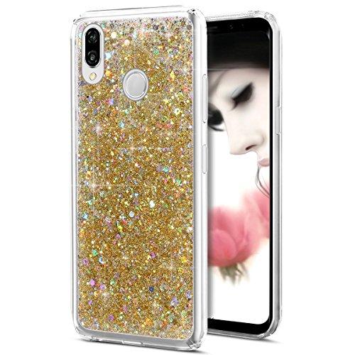 Uposao Kompatibel mit Huawei P20 Transparent Handyhülle Silikon Durchsichtig Glitzer Bling Strass Schutzhülle TPU Handytasche Glitter Kristall Diamant Hülle Klar Glänzend Ultradünn Tasche,Gold
