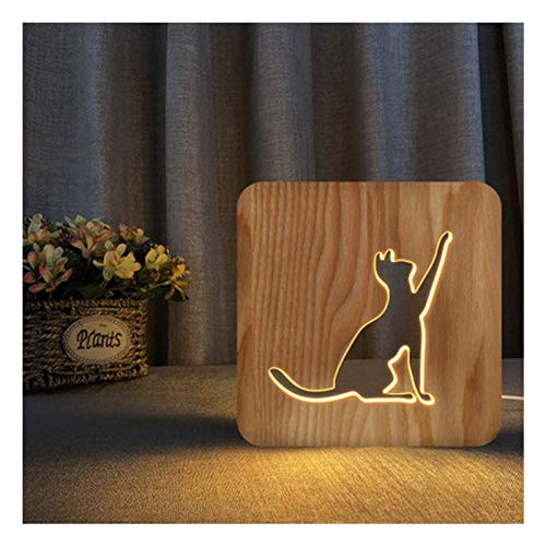 Jsdoin Wooden LED Night Light, Pet Cat Lamp, 2.5w Warm White Beside Table Lamp, Book Light, Desk Decoration Lamps, Mood Light for Kids, Birthday Gift, Bedrooms, Living Rooms and Office