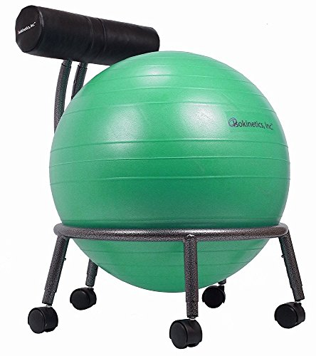 Isokinetics Inc. Brand Adjustable Fitness Ball Chair - Silver Flake on Black Metal Frame Finish -...