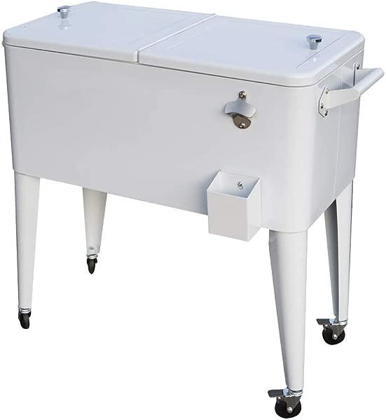 Permasteel PS 203 WHT AM 80 Quart Portable Rolling Patio Cooler White