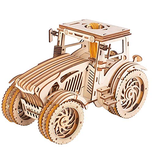Tractor Model Kit, 3D Wooden Puzzle, Wooden Mechanical Tractor Model Kit, Wood Construction Kit for Teens Adults to Build, Hobbies for Adults, DIY Assembly Toy, Gift Idea for Birthdays Christmas