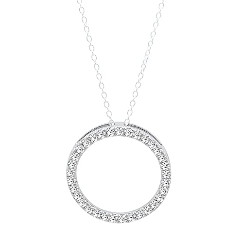 1c8af0d55 10K Gold Round White Diamond Ladies Circle Pendant (Silver Chain Included)