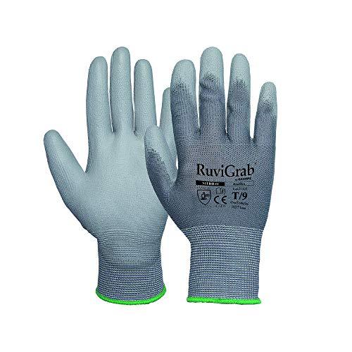 Ruvigrab Guante soporte textil, recubrimiento poliuretano gris