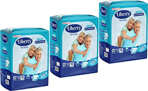 Liberty Adult Diaper, Medium -30 Count (3 Pack * 10 Pcs) (76-101 Cms || 30-40 Inch)