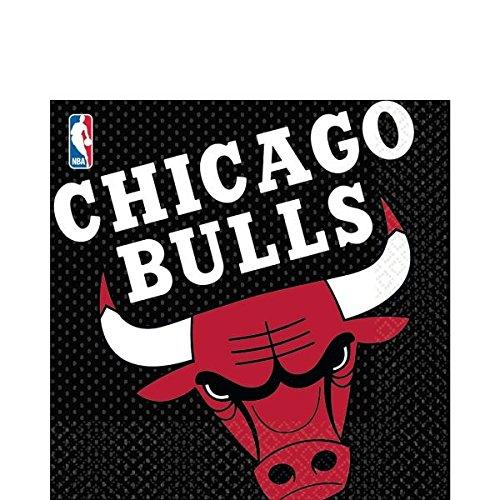 Generique - Chicago Bulls-Servietten Basketball 16 Stück lila-gelb 33x33cm