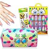 Nickelodeon Spongebob Squarepants Merchandise Bundle - Spongebob Press On Nail Set with Spongebob Squarepants Bag (Spongebob Toys)