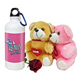 SKYTRENDS Valentine Combo Gift Set Printed Sipper Bottle Two Soft Teddy Artificial Rose Best Gift for Girlfriend, Wife, Boyfriend, Husband, Friend, STG-012
