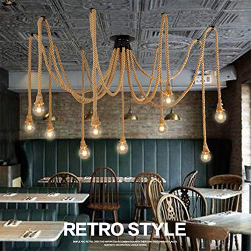 Vintage Seil Hängelampe Pendelleuchte Industrielles Hängeleuchte E27 Vintage Hanfseil Retrolampe Pendelleuchten Deckenleuchte für Halle Küchenleuchte Esstisch Bar-60W (ohne Birne)