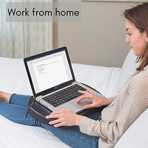 ミニ形状記憶フォーム膝上デスクは、あらゆる15インチラップトップコンピューターにご利用いただける、わずか1.13kgの超軽量小型ラップデスクです。(ブラック)