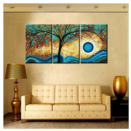 nr Print Abstracte boomcreativiteit Blue Sunset Painting op canvas muurkunst voor woonkamer bank modulaire 50x70cmx3 frameloos